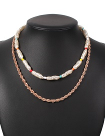 Fashion White Alloy Pearl Geometric Double Necklace