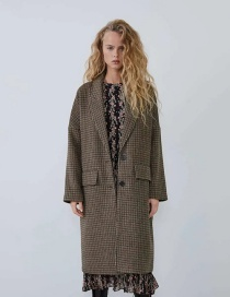 Fashion Brown Houndstooth Single-breasted Long Coat