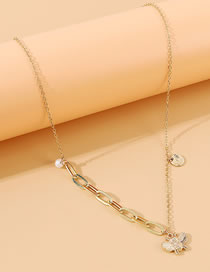 Fashion Golden Little Bee Alloy Pearl Splicing Chain Necklace
