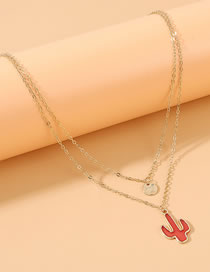 Fashion Red Drop Of Oil Cactus Alloy Double Necklace