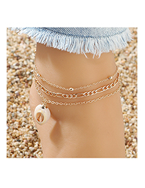 Fashion Golden Shell Bead Chain Alloy Anklet Set