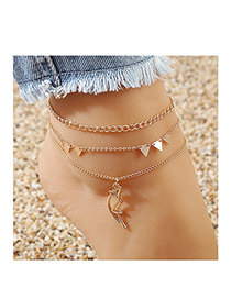 Fashion Golden Little Moon Triangle Alloy Hollow Anklet Set