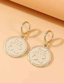 Fashion Gold Color Bear Embossed Alloy Round Earrings