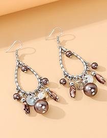 Fashion Brown Imitation Pearl Drop-shaped Alloy Tassel Earrings