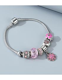Fashion Pink Oil Painting Flower Love Heart Inlaid Zircon Geometric Alloy Bracelet