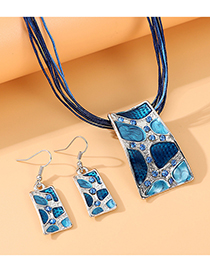 Fashion Blue Painted Oil Diamond Rectangle Alloy Necklace And Earring Set
