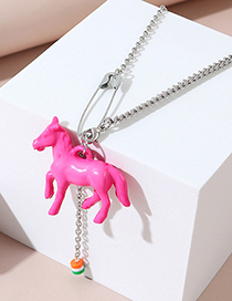 Fashion Pink Pony Resin Pin Tassel Alloy Necklace