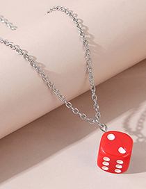 Fashion Red Resin Dice Alloy Necklace