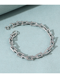 Fashion Silver Thick Chain Alloy Hollow Mens Bracelet