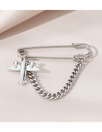 Fashion Silver Small Plane Alloy Thick Chain Brooch