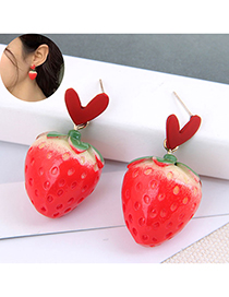 Fashion Red Love Strawberry Resin Alloy Earrings