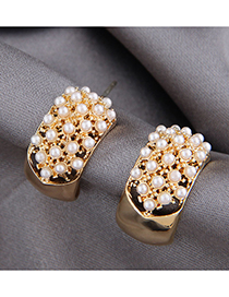 Fashion Gold Color Inlaid Pearl Alloy Geometric Stud Earrings