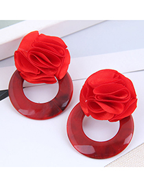 Fashion Red Rose Resin Round Earrings