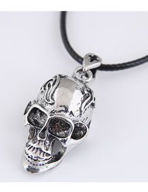 Fashion Silver Color Skull Hollow Alloy Necklace