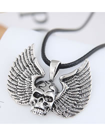 Fashion Silver Color Skull Wings Alloy Necklace