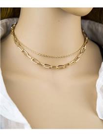 Fashion Gold Color Color Double-layer Square Chain Alloy Necklace