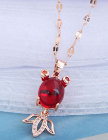 Fashion Red Small Gold Colorfish Diamond Alloy Hollow Necklace