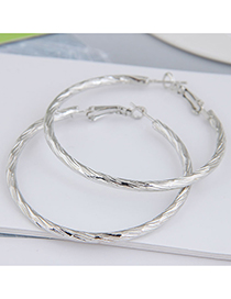 Fashion Silver Color Color 50mm Geometric Round Alloy Earrings