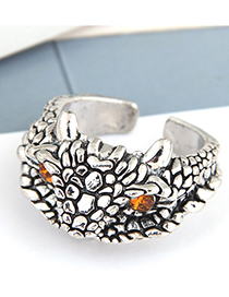 Fashion Silver Color Color Eagle Diamond Embossed Alloy Open Ring