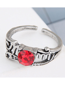 Fashion Silver Color Color Gemstone-embossed Open Open Ring