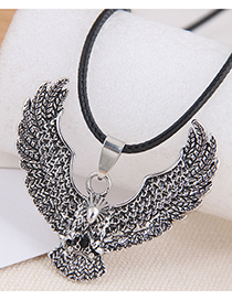Fashion Silver Color Color Eagle Embossed Pendant Alloy Necklace