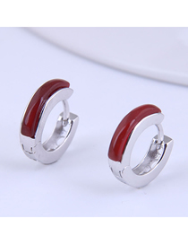 Fashion Silver Color Inlaid Agate Geometric Round Alloy Earrings