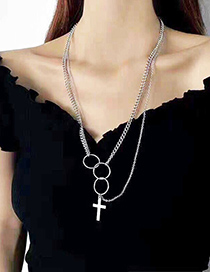 Fashion Silver Color Multi-ring Cross Stainless Steel Multilayer Necklace