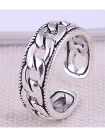 Fashion Silver Thick Chain Hollow Alloy Open Ring