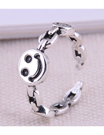 Fashion Silver Smiley Alloy Chain Open Ring
