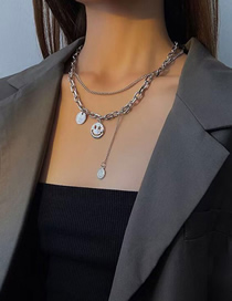 Fashion Silver Smiley Face Stainless Steel Tassel Double Layer Necklace