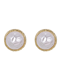 Fashion Gold Color Alloy Pearl Round Earrings