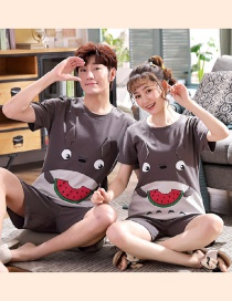 Fashion Watermelon Printed Cotton Short-sleeved Thin Home Service Suit Couple Pajamas Women