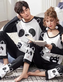 Fashion Bear Printed Long-sleeved Pure Cotton Thin Home Service Suit Couple Pajamas Women