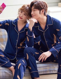 Fashion Feather Yellow Printed Cotton Long-sleeved Home Service Suit Couple Pajamas Men