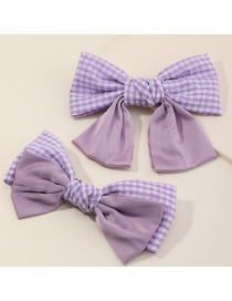 Fashion Purple Suit Large Bowknot Check Fabric Alloy Hairpin Set