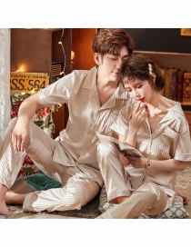 Fashion Apricot Cardigan Ice Silk Short-sleeved Thin Loose Silk Home Service Suit Couple Pajamas Men