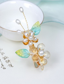 Fashion Hairpin White Glass Crystal Pearl Flower Alloy Hairpin Hairpin