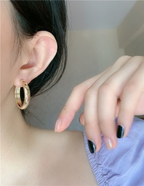 Fashion Gold Color Circle Gold-plated Round Alloy Earrings