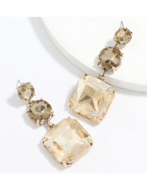 Fashion Gold Color Alloy Diamond Round Square Multilayer Earrings