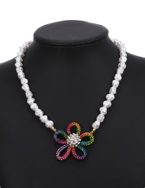 Fashion Color Pearl And Diamond Flower Necklace