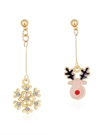 Fashion Color Asymmetrical Dripping Snowflake Fawn Earrings