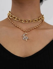Fashion Gold Color Diamond-studded Dragon-shaped Round Bead Chain Alloy Multilayer Necklace