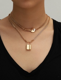 Fashion Gold Color Lock Key Pendant Alloy Multilayer Necklace