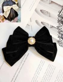 Fashion Black Layer Bow Big Bow Gold Velvet Sun Flower Pearl Three-layer Hairpin