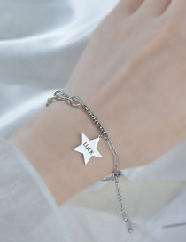 Fashion Silver Color Five-pointed Star Letter Stitching Stainless Steel Bracelet