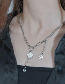 Fashion Silver Color Smiley Five-pointed Star Letter Love Stainless Steel Necklace