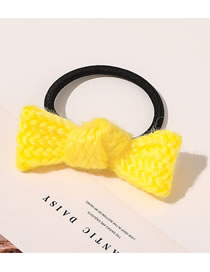 Fashion Cream Yellow Bow Tie Knitting Wool Knitted Large Intestine Loop Hair Rope