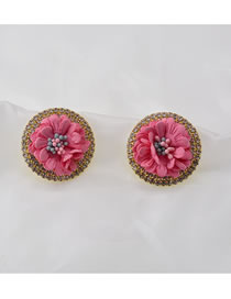 Fashion Gold Color Rhinestone Hollow Carved Lace Fabric Fringed Flower Earrings