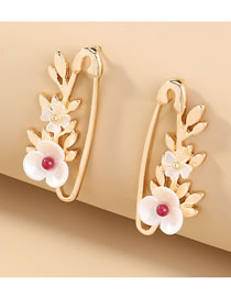 Fashion Gold Color Brooch Flower Shell Alloy Earrings