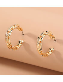 Fashion Gold Color Lattice Chain C-shaped Alloy Hollow Earrings